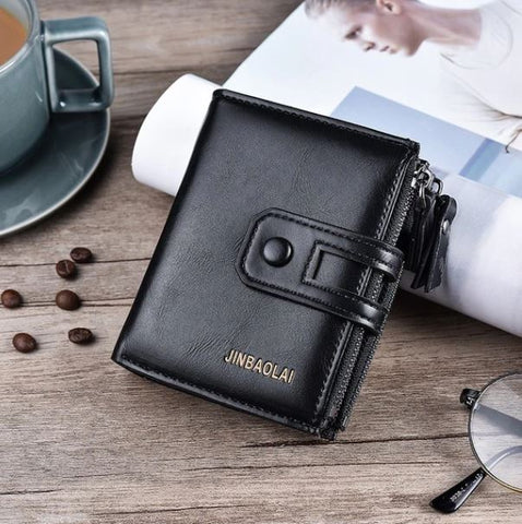 Luxury Black Tri-bifold Hasp Design Wallet - Thebuyspot.com