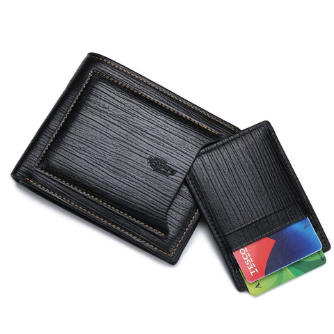 Mens Fashion Black Leather Wallet With Card Holder - Thebuyspot.com