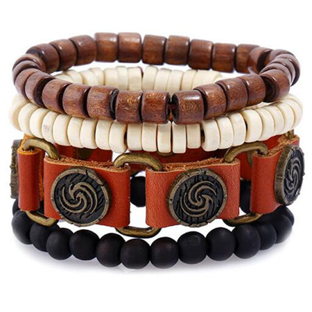 Multi layer beads leather belt bracelet - Thebuyspot.com