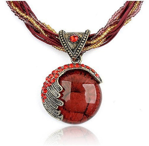 Pendant Necklace Red Crystal Multilayer Chain - Thebuyspot.com