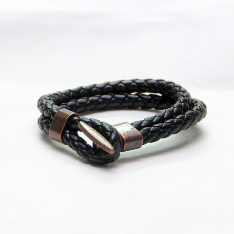 Punk Style Black Leather bracelet - Thebuyspot.com