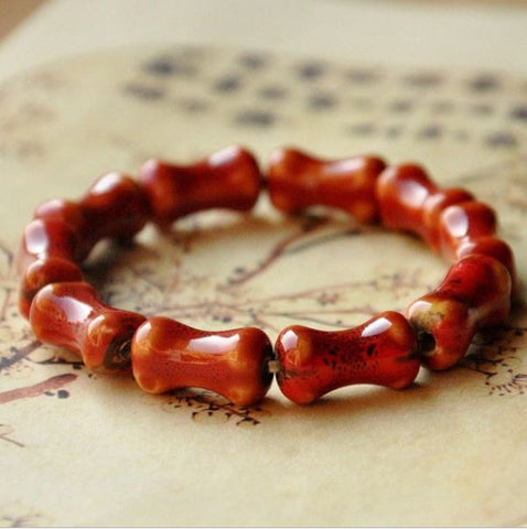 Red Shaped Ceramic Stone Bracelet - Thebuyspot.com