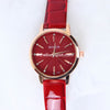 Red Strap Golden Dial 1332 Women's Wrist Watch