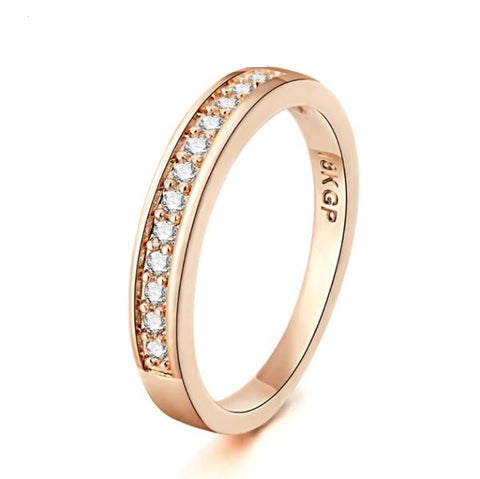 Rose Gold 2mm Cubic Zirconia Ring - Thebuyspot.com