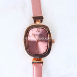 Rose Pink Strap Golden Dial 1333 Women's Wrist Watch