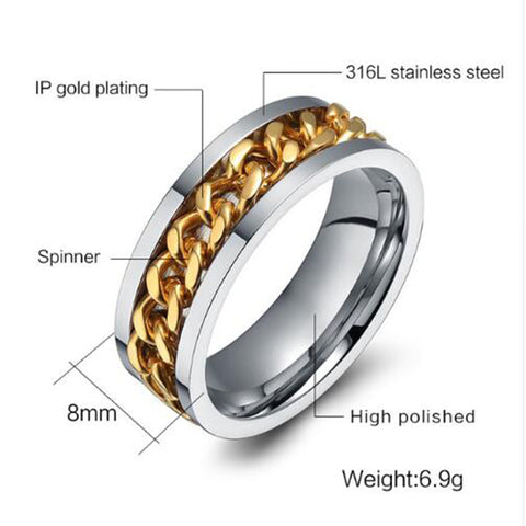 Rotable Golden Chain Punk Style Ring - Thebuyspot.com