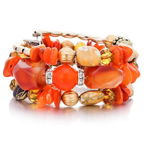 Women Multilayer Beads Bracelets Orange - Thebuyspot.com