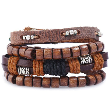 Wooden Beads Leather Bracelet - Thebuyspot.com