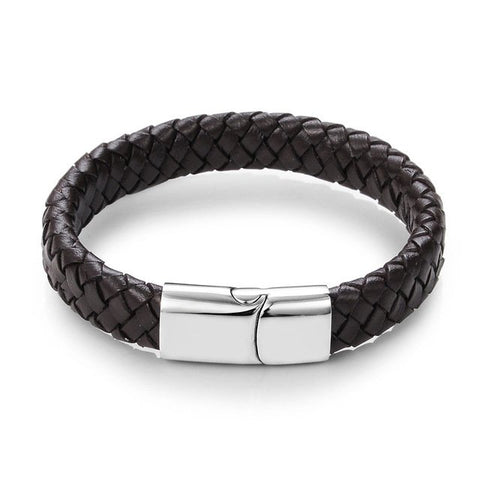 Brown Braided Leather Stainless Steel Magnetic Fashion Bracelet - Thebuyspot.com