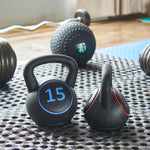 BlanceFrom Wide Grip 3-Piece Kettlebell Exercise Fitness Weight Set, Include 5 lbs, 10 lbs, 15 lbs
