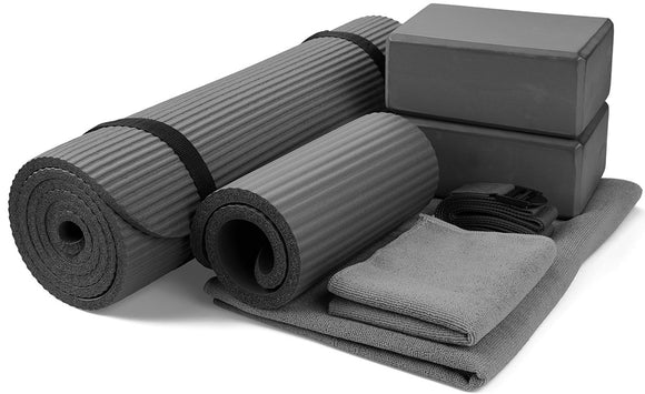 GoYoga 7-Piece Set - Includes Yoga Mat, Yoga Blocks, Mat Towel, Hand Towel, Strap and Knee Pad