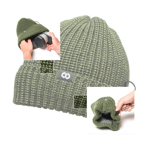 olive - Pouch Beanie KNIT (short) - COOPH Cooperative of Photography GmbH