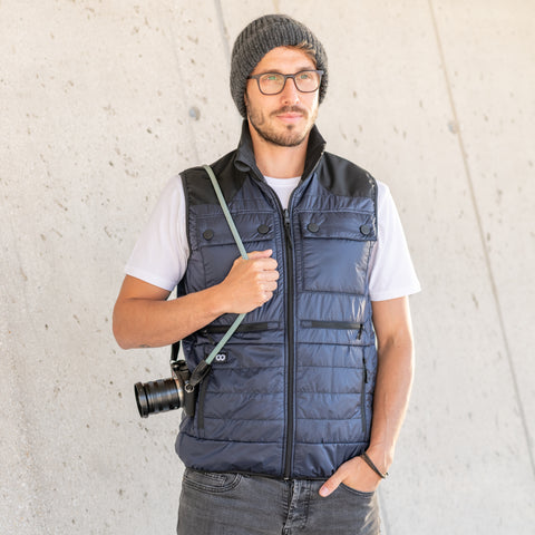Heatable Photo Vest Navy with THERM-IC Bundle - Heatable Photo Vest Navy THERM-IC Bundle