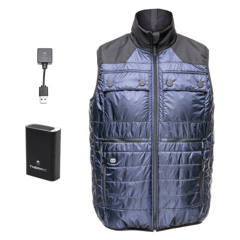Heatable Photo Vest Navy with THERM-IC Bundle- Heatable Photo Vest Navy THERM-IC Bundle