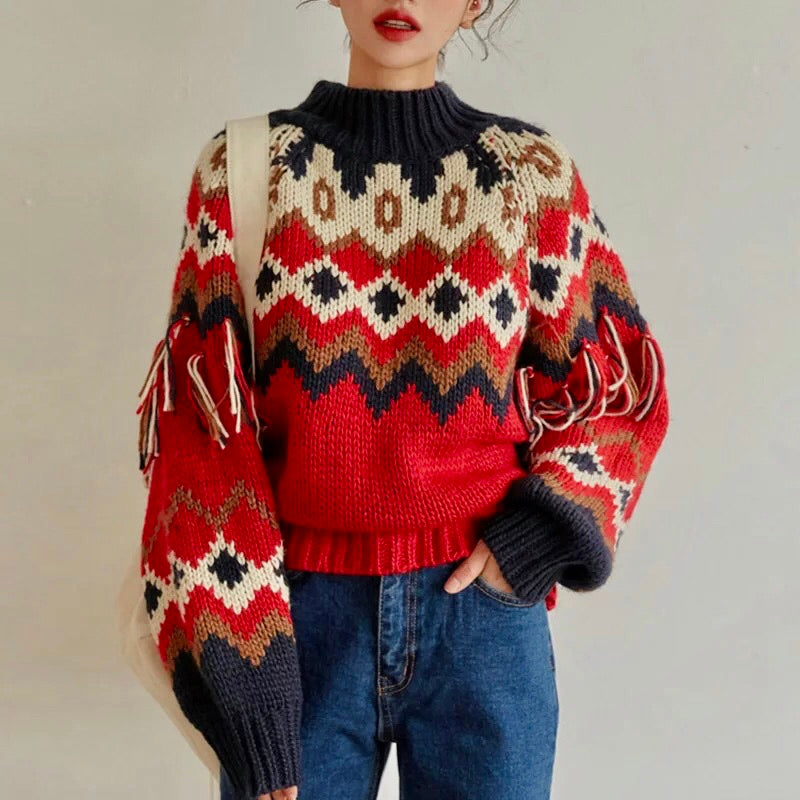 Vintage Knitted Tassels Sweater - Cila Clothing