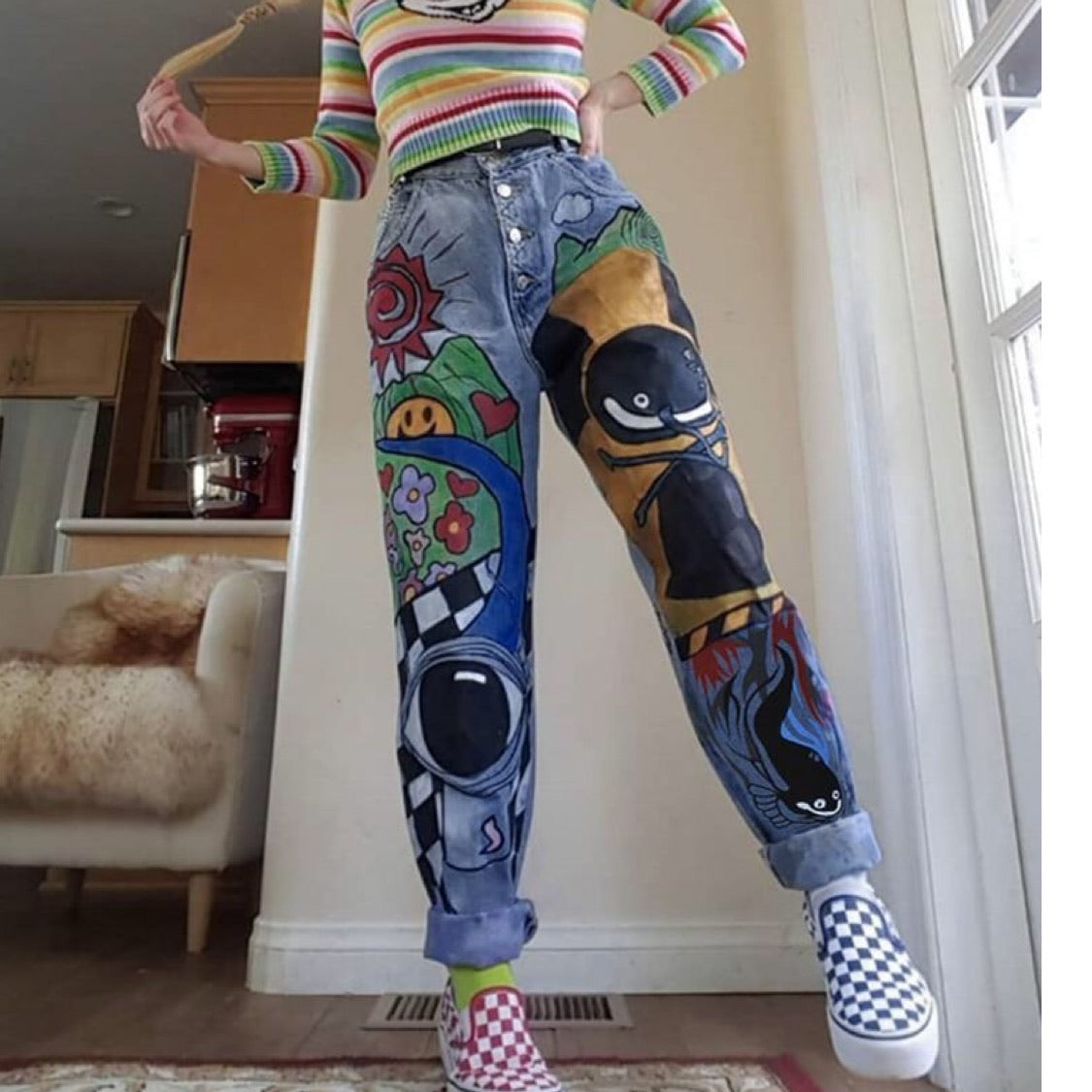 Cartoon Printed Jeans - Cila Clothing