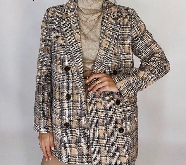 Double Breasted Plaid Tweed Coat - Cila Clothing