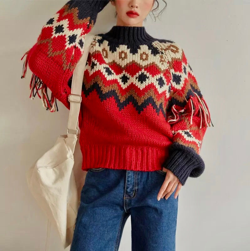 Vintage Knitted Tassels Sweater - HOUSE OF SIONNE