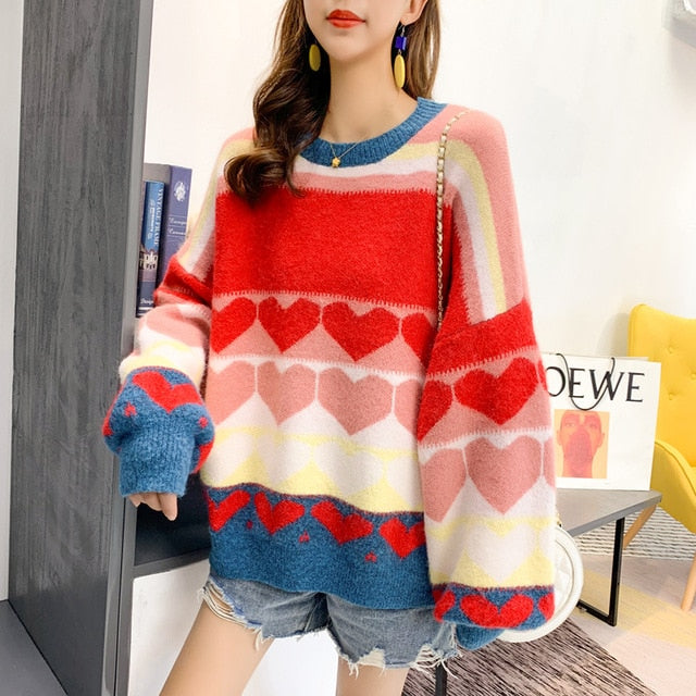 Sweet Heart Knit Pullover - Cila Clothing