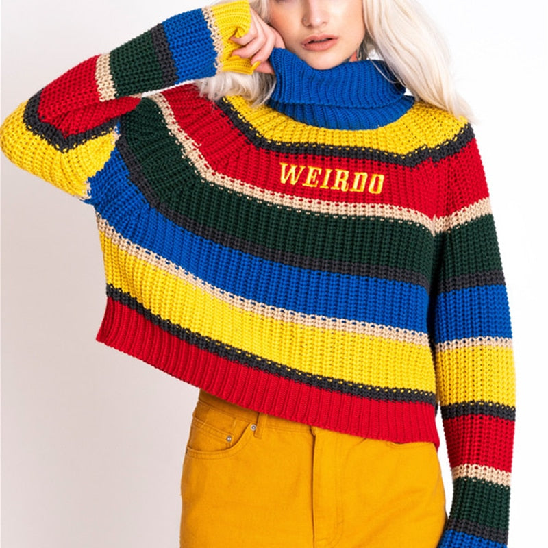 Stripes Turtle Neck Knitted Jumper - HOUSE OF SIONNE