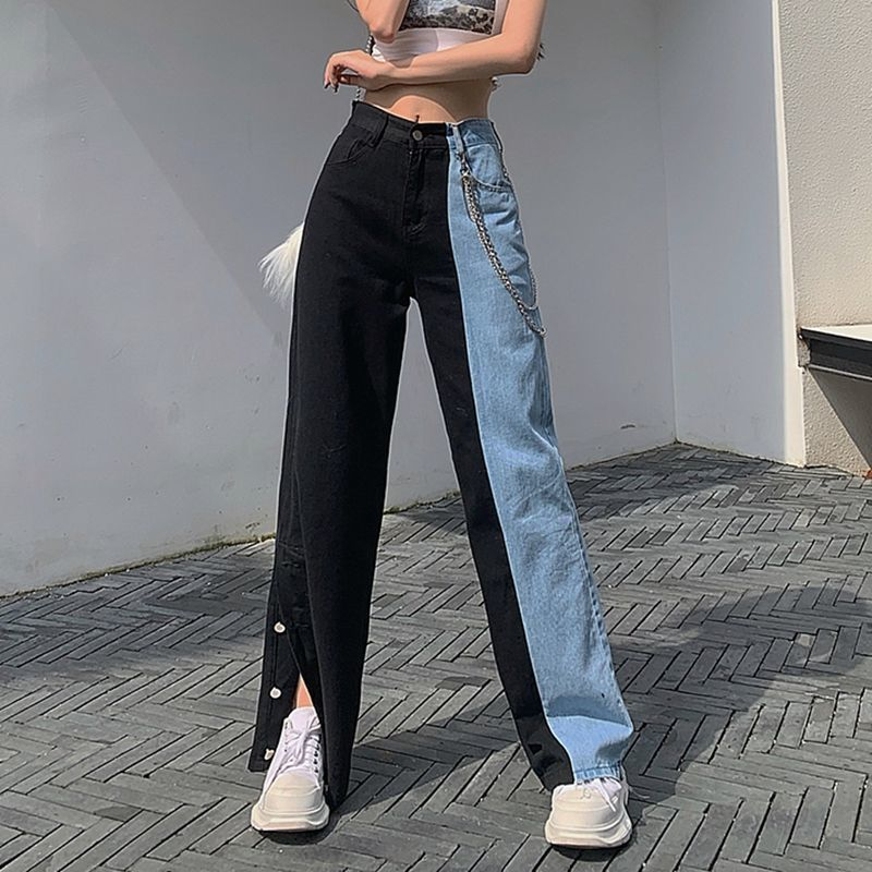 Vintage Split Jeans - Cila Clothing