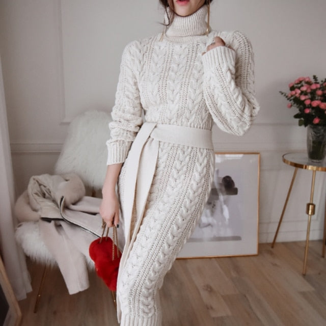 Autumn Turtleneck Knitted Dress - Cila Clothing