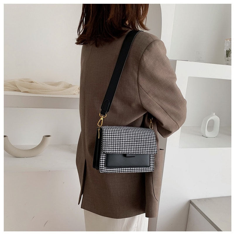 Large Strap Houndstooth Bag - Cila Clothing