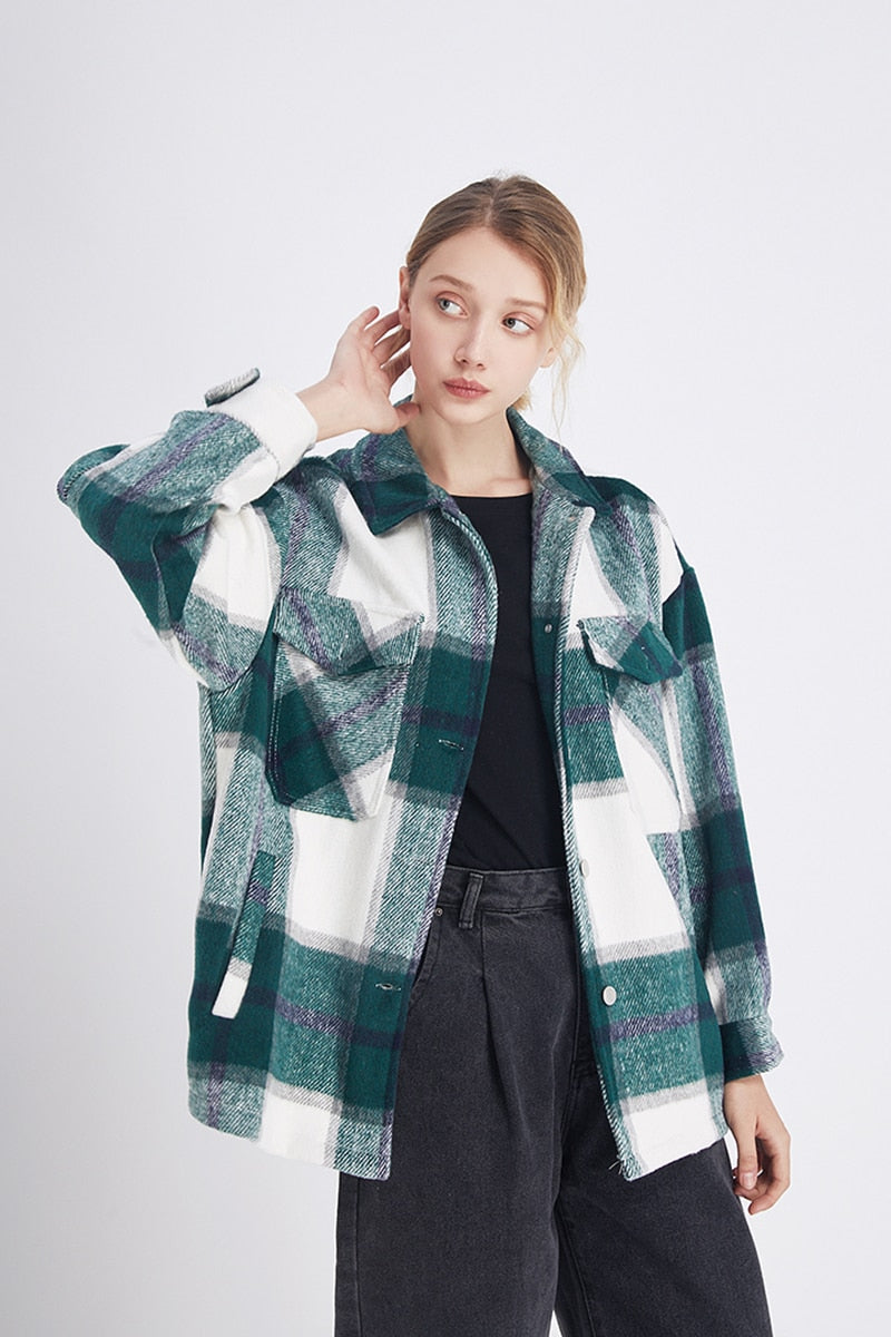 Vintage Oversized Plaid Jacket - Cila Clothing