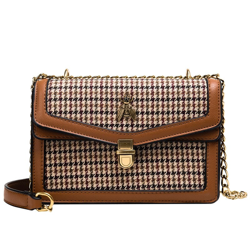 Chain Strap Houndstooth Bag - Cila Clothing