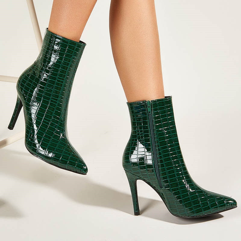 Green Patent Leather Boots - Cila Clothing