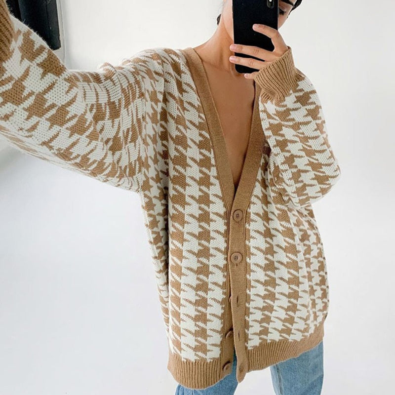 Geometric Khaki Cardigan - Cila Clothing