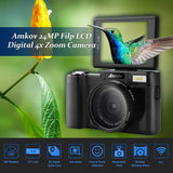 "3.0"" LCD Flip Screen WiFi 24MP UHD Digital Camera"