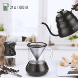 Gooseneck kettle with built-in thermometer