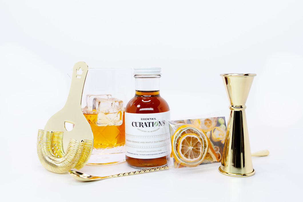 Gold-Plated Cocktail Tool Kit w/ Mixing Glass