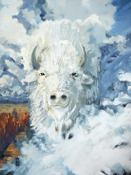 Legend of the White Buffalo - Framed Canvas Print