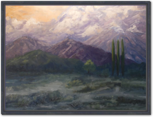 Sunset Mountains - Framed Canvas Print