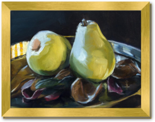 Morning Pears - Framed Canvas Print