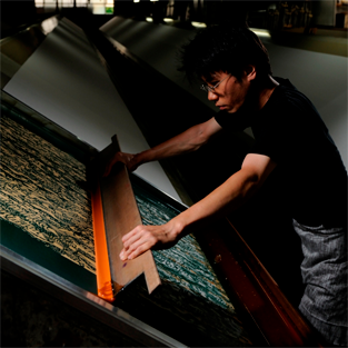 Hand dyed fabric in kyoto