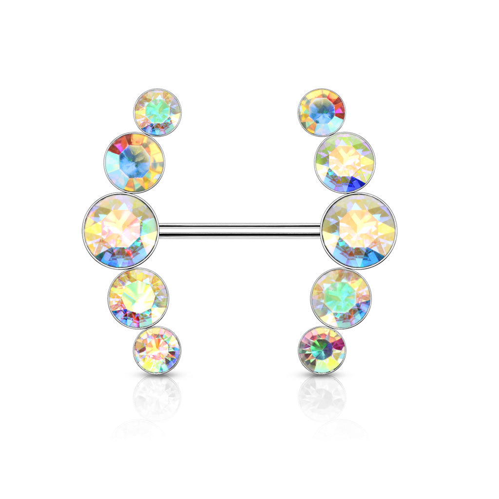 CRYSTAL LINED SURGICAL STEEL NIPPLE BAR