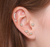 6-PIECE ASSORTED CZ TOP CURATED EAR SET