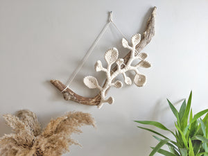Vines and Leaves Macrame Wall Hanging Sculpture - on Bare Driftwood