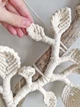 Load image into Gallery viewer, Vines and Leaves Macrame Wall Hanging Sculpture - on Bare Driftwood