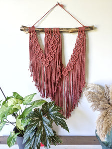 Assymetric Macrame Wall Hanging - Double Fringe - String Theories Fiber Design