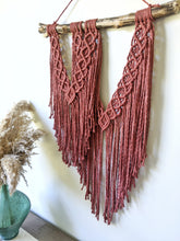 Load image into Gallery viewer, Assymetric Macrame Wall Hanging - Double Fringe - String Theories Fiber Design