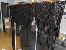 Load image into Gallery viewer, Black Macrame Wedding Backdrop // Macrame Ceremony Arch - String Theories Fiber Design