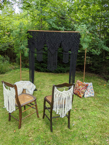 Black Macrame Wedding Backdrop // Macrame Ceremony Arch - String Theories Fiber Design