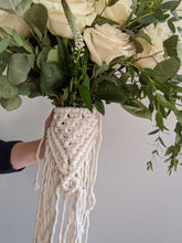 Load image into Gallery viewer, Macrame Wedding Bouquet Wrap in Bright White