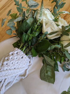 Macrame Wedding Bouquet Wrap in Bright White