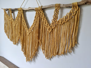 Large Macrame Wall Hanging - Triple Fringe - String Theories Fiber Design