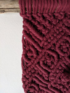 Chunky Macrame Wall Hanging in Burgundy